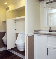 Interior of porta potty mobile trailers in NY and NJ