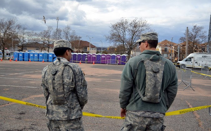 John to Go porta potty rentals servicing the army at a disaster relief site in NY