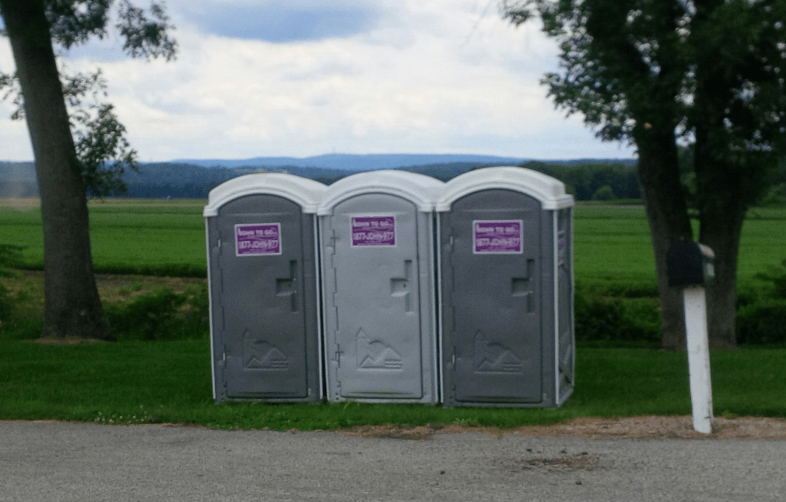 Portable toilet event units at bike race in New York