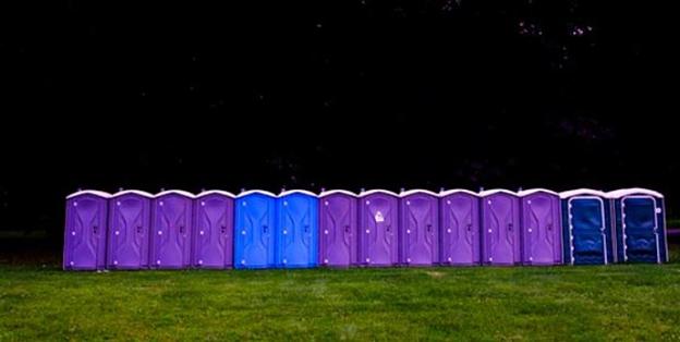 Row of porta potties in New Jersey