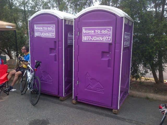 2 porta potty units outdoors